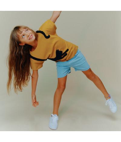 Girl T-Shirt Yoga Cat Gold
