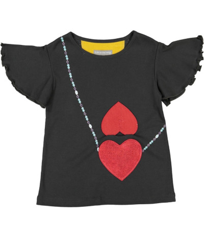 T-Shirt Fille Double Heart Onyx