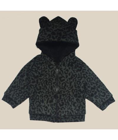 Veste bébé khaki leopard